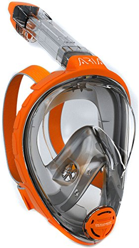 Ocean Reef Aria Full Face Snorkel Mask (Orange, Small/Medium)