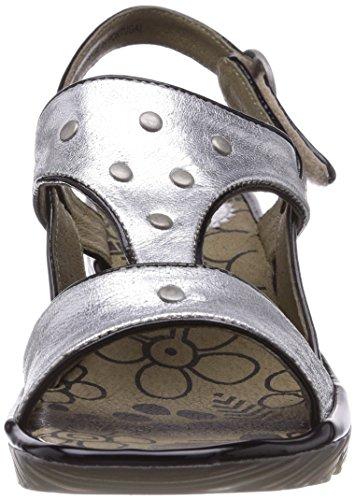 Fly London Odum - Sandalias de vestir de cuero para mujer Plateado (Silver 008)