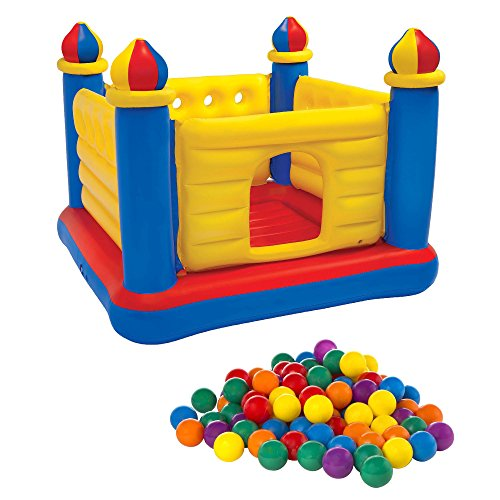 Intex Inflatable Jump O Lene Ball Pit Outdoor Castle Bouncer w/ 100 Play Balls