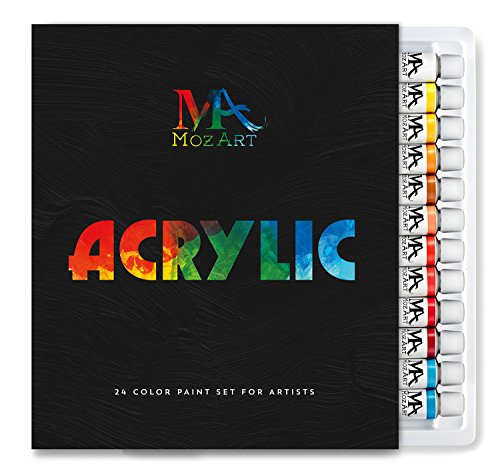 MozArt Supplies Acrylic Paint Set - 24 Paint Colors 12ml Tubes - Artist Grade Kit for Professionals, Beginners, and Kids - Ideal for Canvas, Ceramics, and Crafts