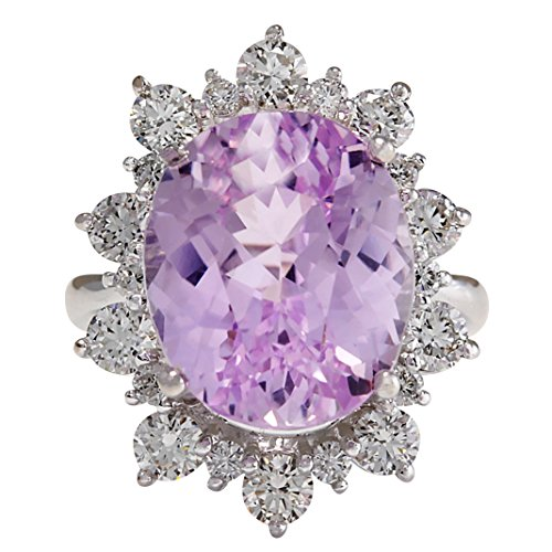 17.88 Carat Natural Pink Kunzite and Diamond (F-G Color, VS1-VS2 Clarity) 14K White Gold Luxury Cocktail Ring for Women Exclusively Handcrafted in USA