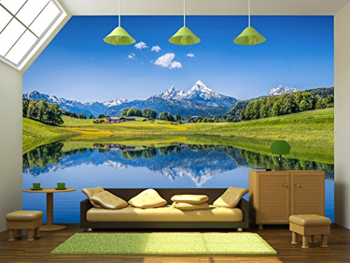 Panoramic view of idyllic summer landscape in the Alps with clear mountain lake