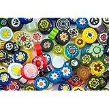 Devardi Glass COE 90 Premium Hi - Def Millefiori 4 Ounces, Mix #1, Assorted Colors Fusing, Mosaic