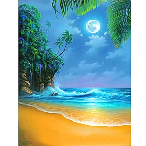 Photo Moonlight (HOT NEW ! DIY 5D Diamond Painting Kits Full Kits Rhinestone Crystal Embroidery Pictures Cross Stitch for Home Room Decoration Moonlight Owl ❤️ ZYEE (D))