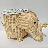 Laundry Basket Hamper Storage Dirty Clothes Toy with Lining,Rattan,Elephant,18.5inchs11.8inchs12.2inchs