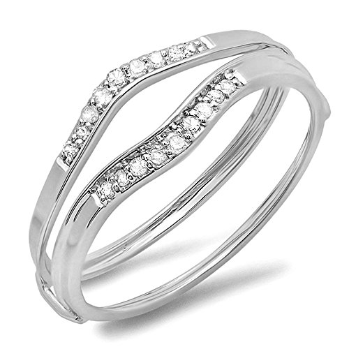 Dazzlingrock Collection 0.12 Carat (ctw) 10K Round White Diamond Ladies Enhancer Guard Wedding Band, White Gold, Size 5.5