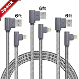 90 Degree Data Cable iPhone Charger Fast Charging Cord 3 Pack(6/6/ 6FT) for iPhone Xs/Max/XS/XR/7/7Plus/X/8/8Plus/6S/6 Plus/SE (Gray)