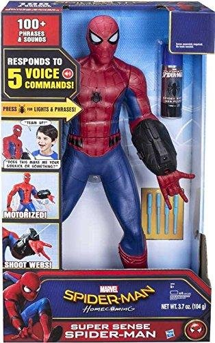 (spider-man homecoming Marvel Super Sense Spider-Man Motorized 25'' Inches Tall 100+ Phrases Responds to 5 Voice Commands Eyes Light Up Shoots Web Fluid New in Unopened)
