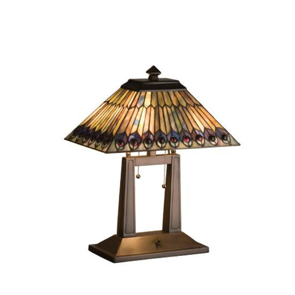 Charming Tiffany Jeweled Peacock Oblong Table Lamp   Mission Table Lamp   Amazon.com