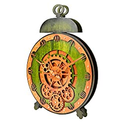 Kintrot Moving Gear Clock Large Decorative Wall Desk Clock 3D Wooden Clock
