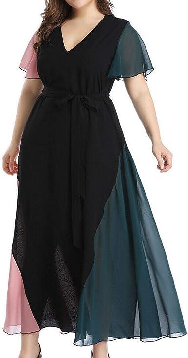 Vestido De Verano Mujer 2019 Talla Grande Vestidos De Fiesta Mujer Elegantes Vestidos De Coctel Tallas Grandes Senoras Vestido Largo Manga Corta Xl Xxxxxl Negro 3xl Bust 126cm 49 61 Amazon Es Ropa Y Accesorios