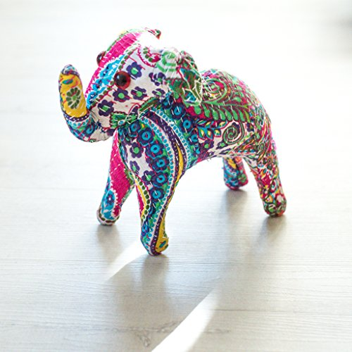 Ankit Blue Indian Handcrafted Colorful Embroidery Home Decor Ornament Rajasthani Royal Stuffed Folk Art Cotton Silk Elephant Mammal