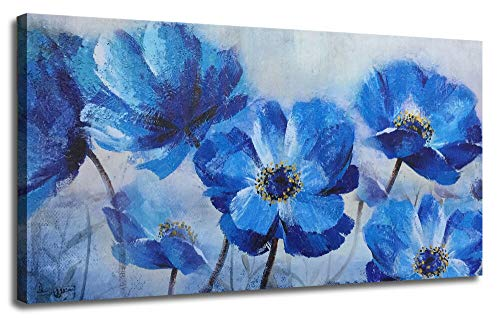 Ardemy Canvas Wall Art Blue Flowers Bloosm Painting Prints Modern One Panel Poppy Florals 40