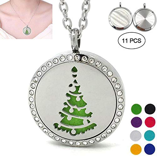 Aromatherapy Essential Oil Diffuser Necklace,KOBWA Perfume Locket Pendant-Stainless Steel Christmas Tree Hollow Magnetic Box-Car Aromatherapy Pendant with 8 Refill Cotton Pads,24inch Adjustable Chain