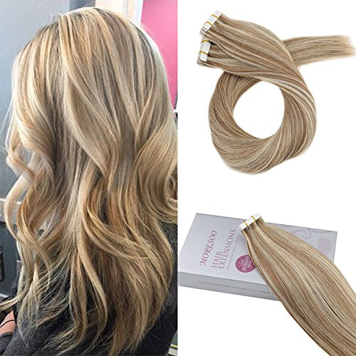 Moresoo 24 Inch Remy Hair Extensions Tape in Human Hair Colo