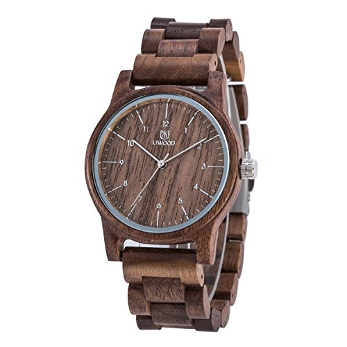 Wooden Watches Mens,BIOSTON 40mm Unisex Design Quartz Analog Movement Casual Walnut Wood Wristwatches
