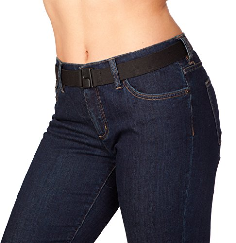 [Women's Stretch Invisibelt: No-Show Invisible Belt Lays Flat Under Fitted Tops, Black] (Fan Belt Buckle)