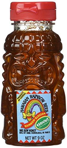 Rainbow Blossom 100% Hawaiian Gourmet Raw Honey in Fun-size 9 Oz. Tiki Dispenser (Award Winning)