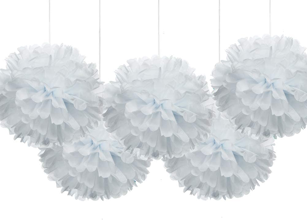 """price 16"""" White Tissue Pom Poms Factory outlet Flower Hanging Paper Decoration Party"""
