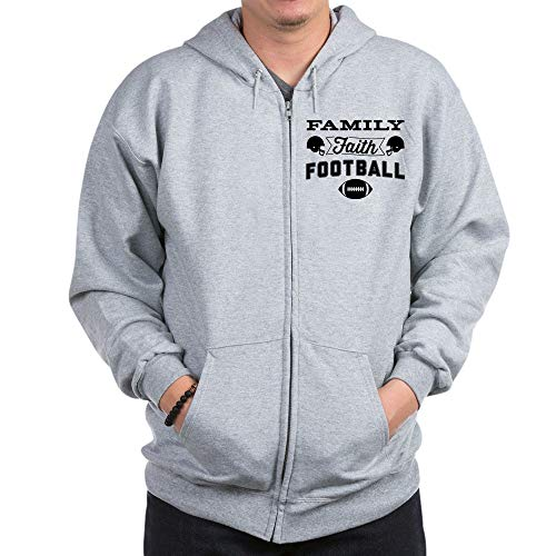 CafePress Family Faith Football Zip Hoodie, Classic Hooded Sweatshirt with Metal Zipper Heather Grey (Zip Faith Hoodie)