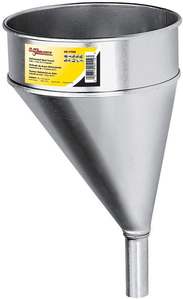 2 Quart Capacity. Oil Change and Transmission Fluid Change Funnel Lumax LX-1705 Black Steel Transmission Funnel with Screen and 18 x 1//2 Flexible Pipe