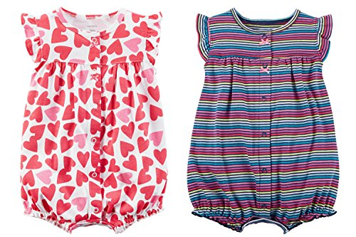 - Carter's Baby Girl's 2 Pack Cotton Romper Creeper Set (6 Months, Red and Pink Hearts and Rainbow Striped)