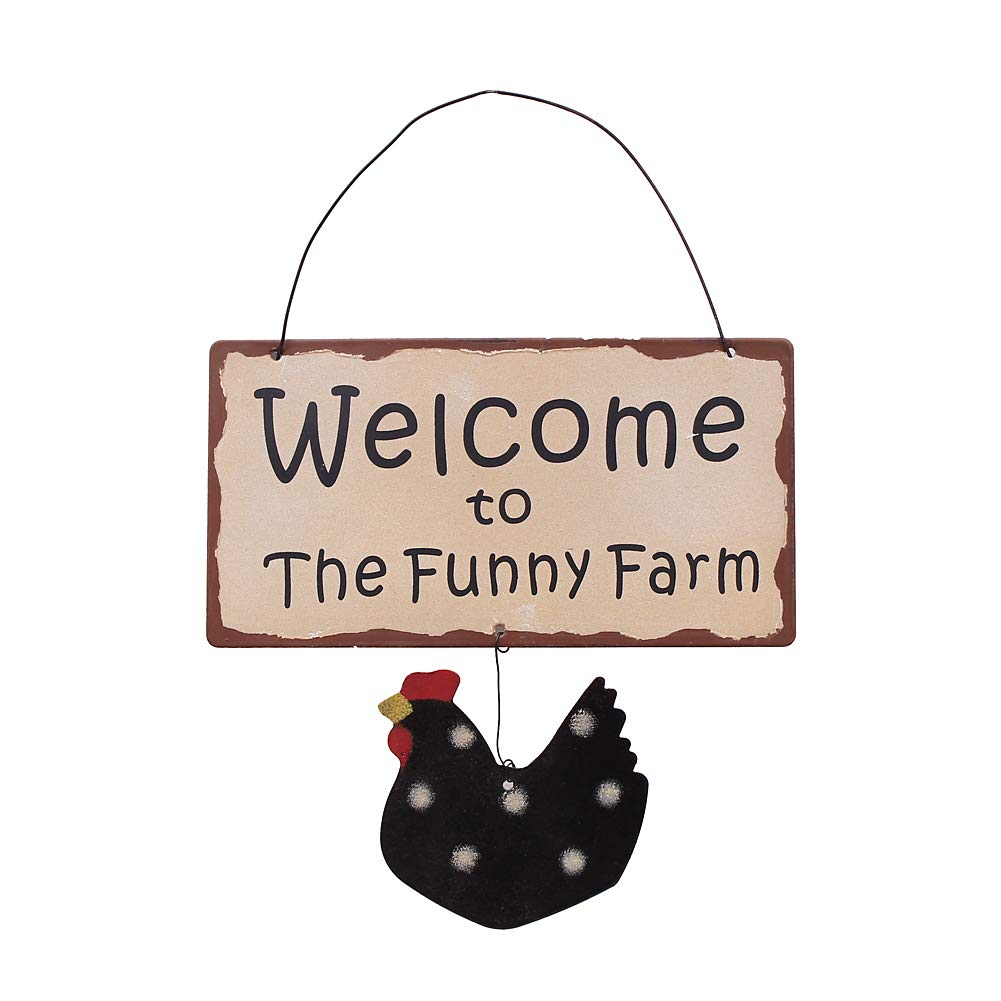 "Welcome Sign for Front Door Home Decoration, Vintage Hanging Metal Chicken Welcome Decor for Door House Warming Gifts, 7"" H x 7.5"" L (Chicken-A)"