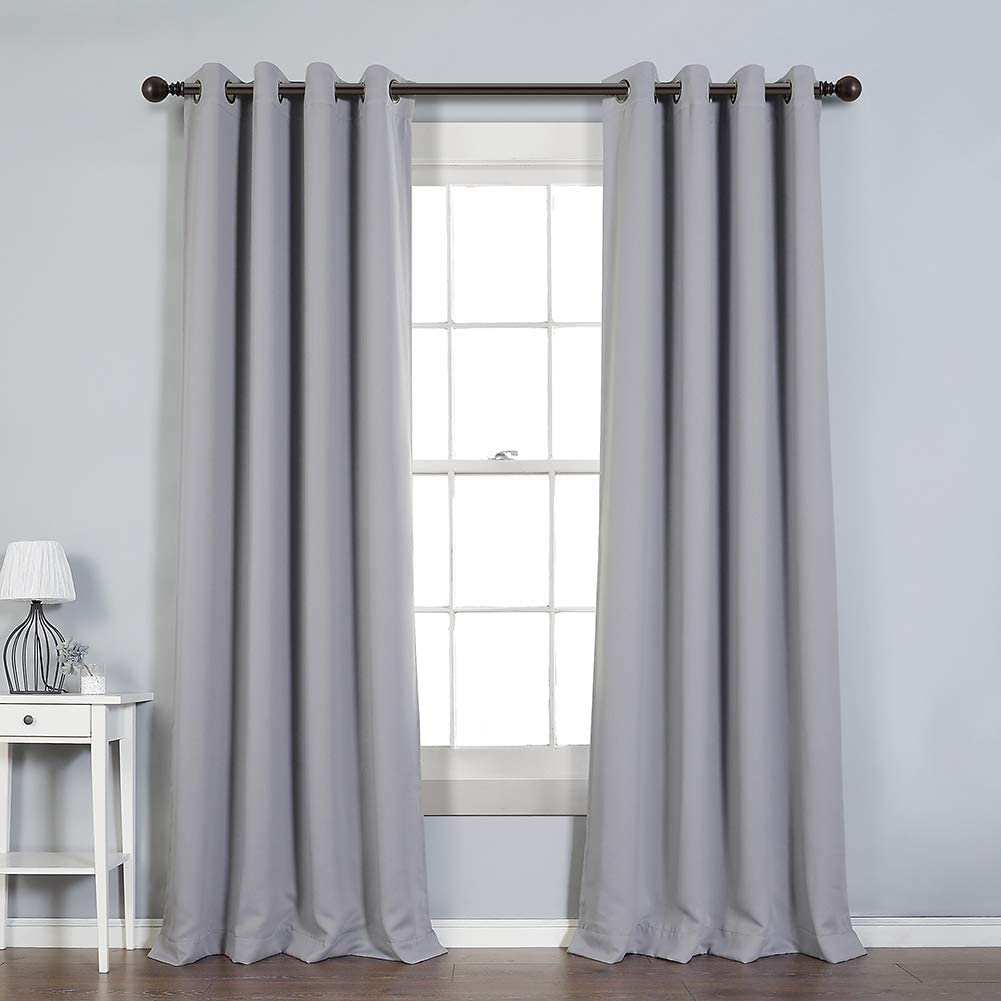 MYSKY HOME Blackout Curtains 95 Inches Long for Living Room,Grommet Thermal Insulated Room Darkening Window Curtain,Grey,52x95 Inch,1 Pair