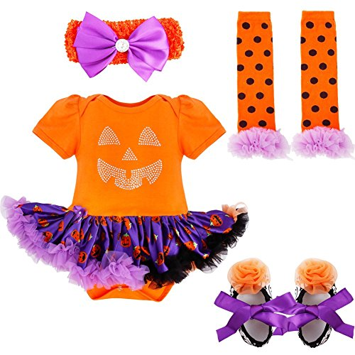 FEESHOW Baby Girls Halloween Costume Romper Outfits Party Fancy Dress up Headband Orange Rhinestone Pumpkin 0-3 Months -