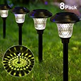 Solar Lights Bright Pathway Outdoor Garden Stake Glass Stainless Steel Waterproof Auto On/off