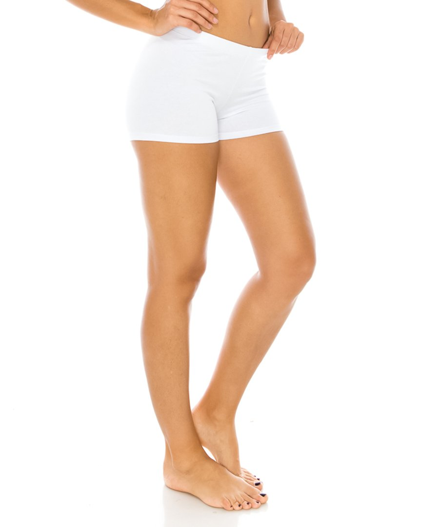 CNC STYLE Women's Regular/Plus Soild Stretch Mini Dance Yoga Workout Underskirt Pant Cotton Booty Shorts Leggings Underwear (Small, White)