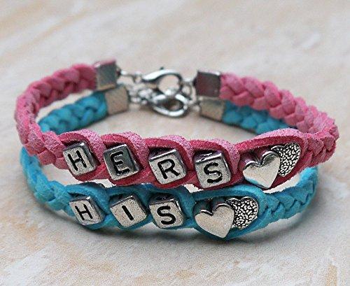 Couples Bracelet Set of 2 His and Hers Bracelet,silver Heart Bracelet, Blue and Pink Weaving Braid Bracelet, Anniversary Bracelets