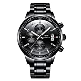OLMECA Men's Watches Luxury Sports Casual Quartz Wristwatches Waterproof Chronograph Calendar Date Stainless Steel Band Black Color Larger Image
