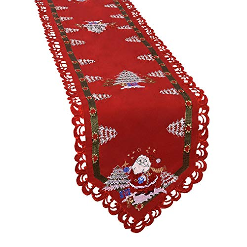 Simhomsen Santa Clause Table Runner for Christmas Holidays, Embroidered Holly Tree Surrounded (15 × 84 Inch)