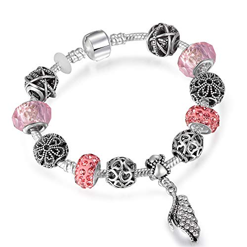 KAIISH Bracelet Summer Style Antique Charm Bracelets with Majestic Feathers Pendant Bracelet for Women Wedding ()