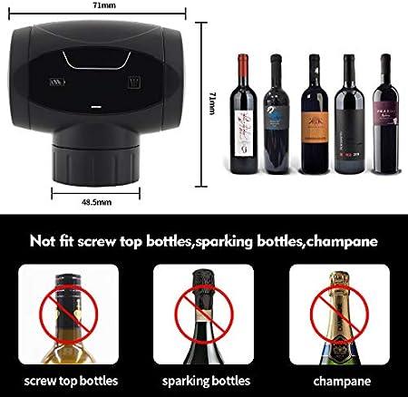 Brynnl Tapón de vino, tapón eléctrico para botella de vino, ahorro automático de vino, reutilizable, tapón para botella de vino, mantiene el vino fresco hasta 7 días