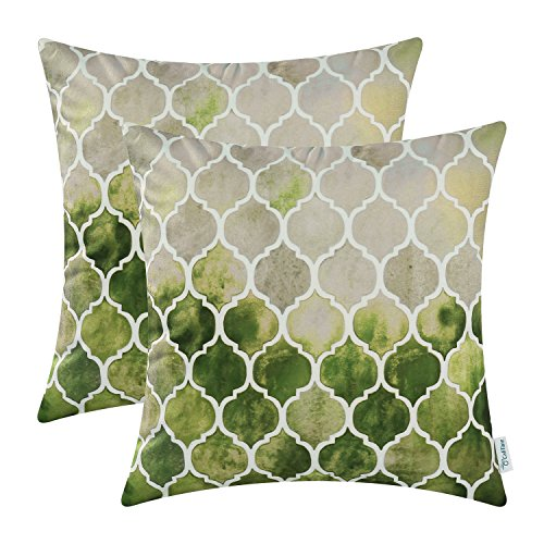 CaliTime Pack of 2 Cozy Throw Pillow Cases Covers Couch Bed Sofa Manual Hand Painted Colorful Geometric Trellis Chain Print 18 X 18 Inches Main Grey Green Olive