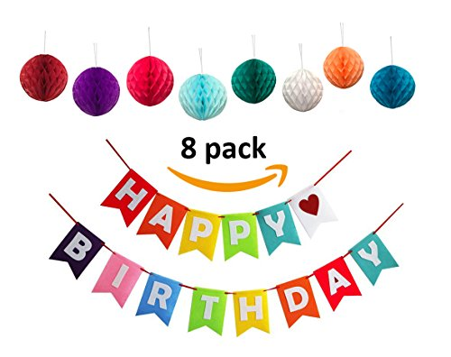 It's Party Time: Happy Birthday Banner - Perfect Birthday Decorations for All Ages with Set of 8 Tissue Paper Honeycomb (It Is Your Birthday Banner)