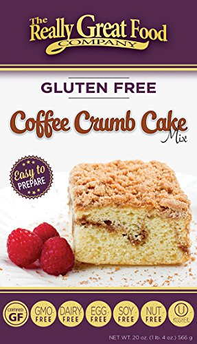 Non-Standard real Great Food Company – Gluten Free Coffee Crumb Cake Mix – Large 20 ounce box - No Nuts, Soy, Dairy, Eggs - Vegan, Kosher and Non-GMO