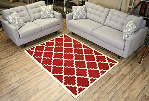 - RugStylesOnline Modela Collection Trellis Modern Area Rugs, Red 4'9
