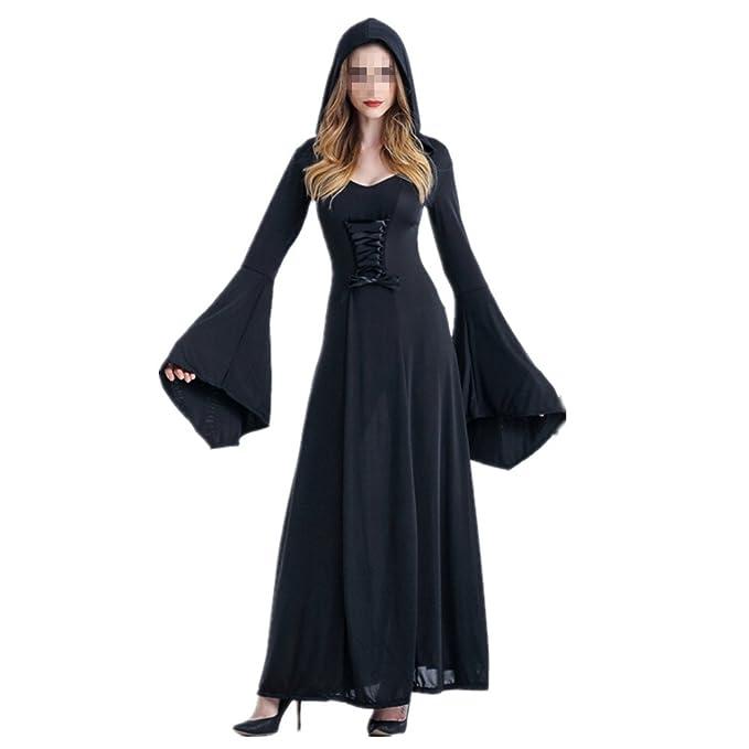 xiemushop Disfraz de Bruja para Mujer Vestido de Vampiresa Reina Cosplay Halloween Negro: Amazon.es: Ropa y accesorios