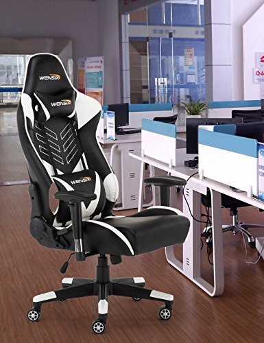 WENSIX Ergonomic High Back Computer Gaming Chair for PC Racing Chairs with Adjustable Headrest and Backrest (White/Black) by WENSIX (Image #5)