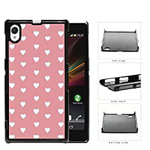 Hearts Pattern On Pink Background Hard Plastic Snap On Cell Phone Case Sony Xperia Z1 wangjiang maoyi