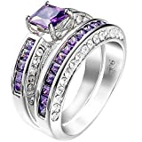 Women 2 PCS 925 Sterling Silver Plated Princess Cut Purple Amethyst Diamond CZ Engagement Wedding Ring Set
