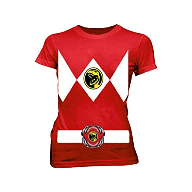 6be50876f7e Power Rangers Red Ranger Costume Red Juniors T-Shirt Tee (Juniors Medium)
