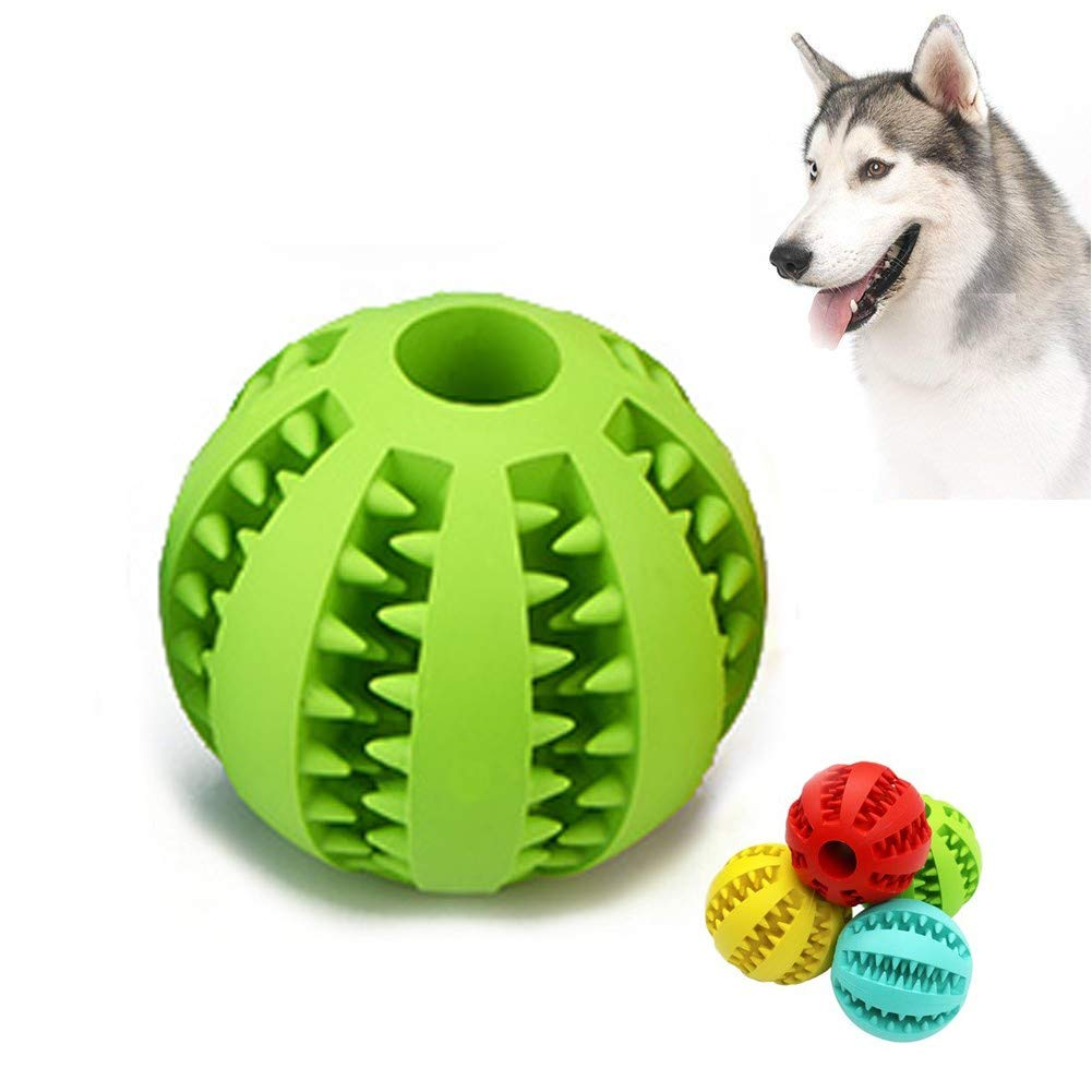 Green BDog Toy Ball, Nontoxic Bite Resistant Toy Ball,Dog Chew Ball Toy Tooth Cleaning Dental Treat for Pet Dogs Puppy Cat, Dog Pet Food Treat Chewing Training Playing