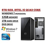 Newest Edition Dell Inspiron 3000 3650 High Performance Desktop PC - 6th Gen. Intel i5-6400 Quad Core Processor - 12GB RAM - 1TB HDD - DVDRW - WiFi - HDMI - Bluetooth - Windows 7 Professional