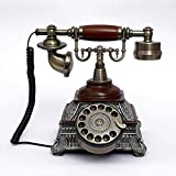 Ryu Continental antique rotary phone red Home Office solid wood vintage Bell telephone line connection