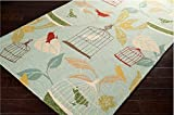 Floral Garden Pattern Area Rug, Featuring Unique Bird Cage Design, Modern Stylish Home Decor, Rectangle Indoor Outdoor Living Room Dining Bedroom Hallway Patio Carpet, Blue, Multi, Size 8' x 10'