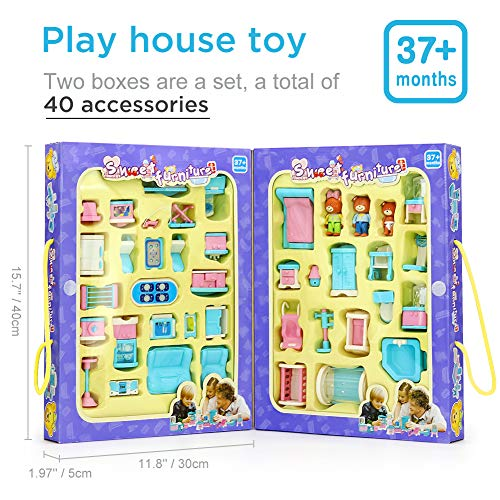 Dollhouse with Furniture,Pretend Play with Bear Family Toy Set Dreamhouse Accessories and Furniture-Living Room,Bedroom, Bathroom and Kitchen for Baby Boy Girls from WOCY